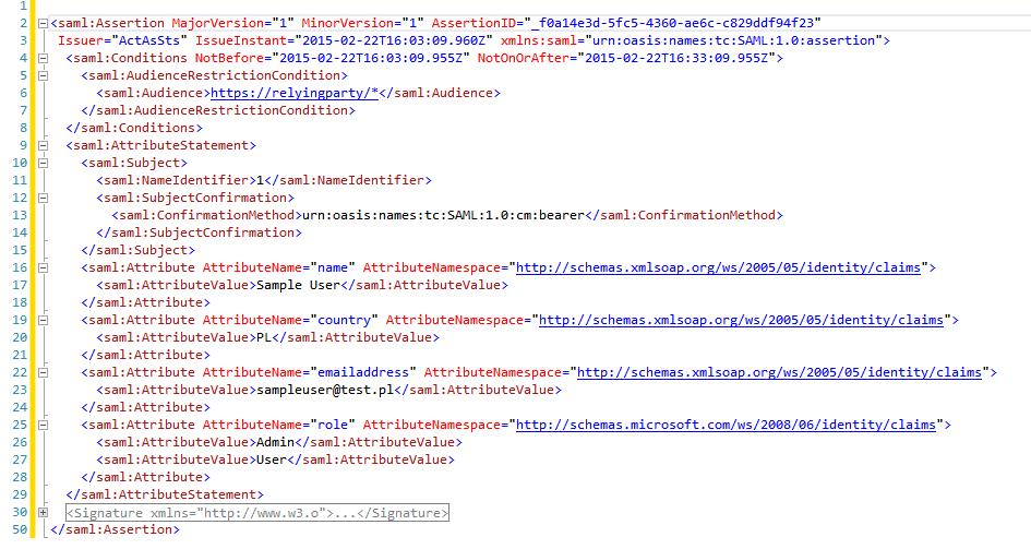 Figure 4. Sample SAML Token