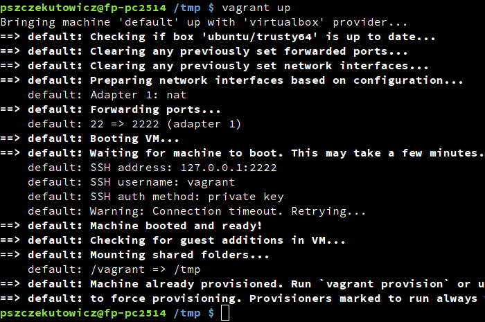 Console presenting vagrant unit with box with vagrant cloud and vagrant up command - Future Processing