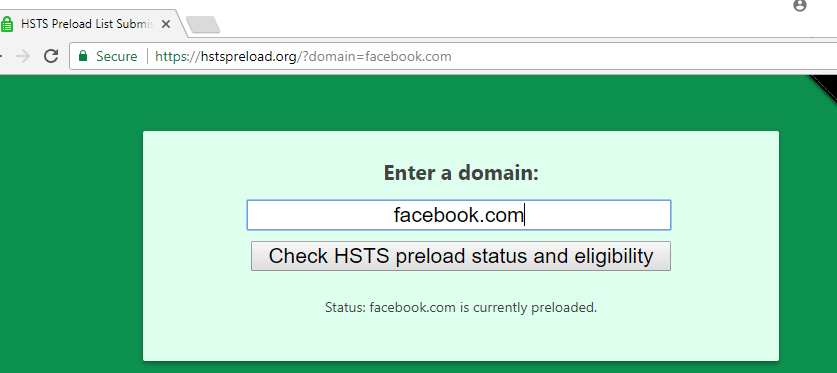 HSTS preload record for facebook.com
