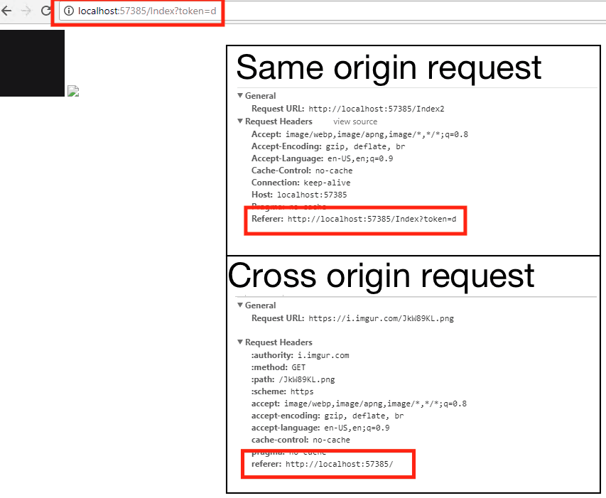 Value of Referer header sent for same origin and cross-origin request
