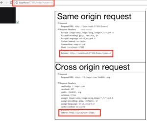 Value of Referer header sent for same origin and cross-origin request