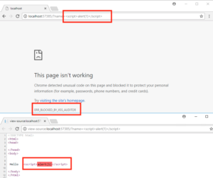 Example of XSS attack blocked by XSS Auditor in Chrome